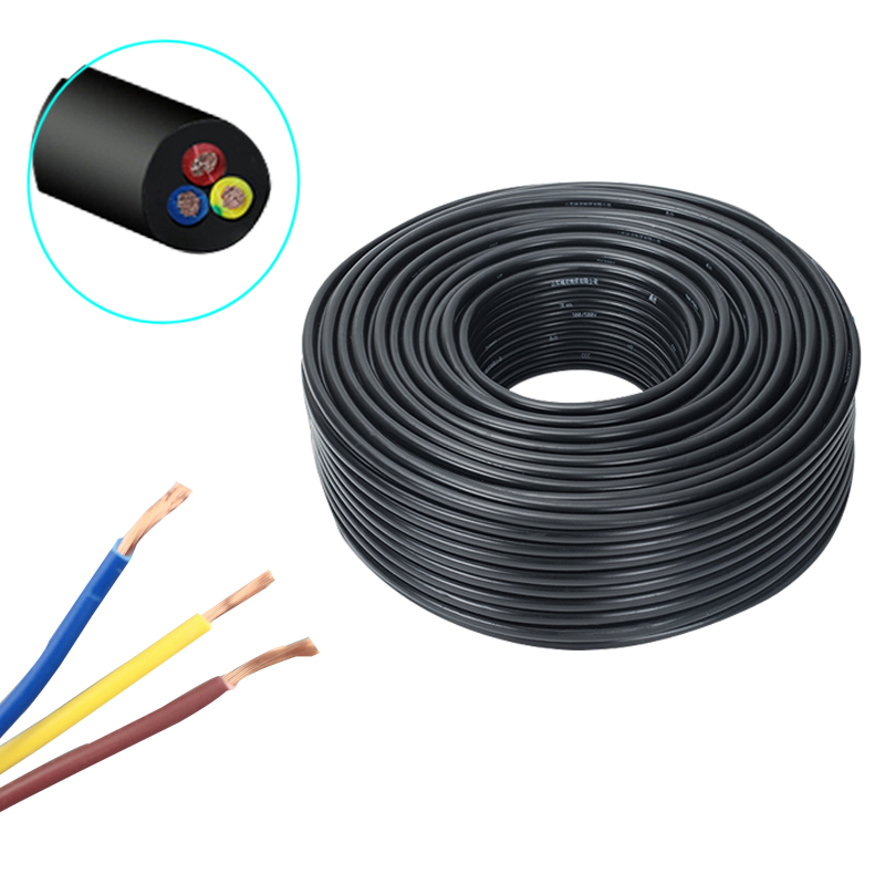 10m 0.5/0.75mm2 <font><b>2</b></font>/3 <font><b>Cores</b></font> Pins Copper <font><b>Wire</b></font> Conductor Electric RVV Cable Black for waterproof connector floodlight lawn garden image