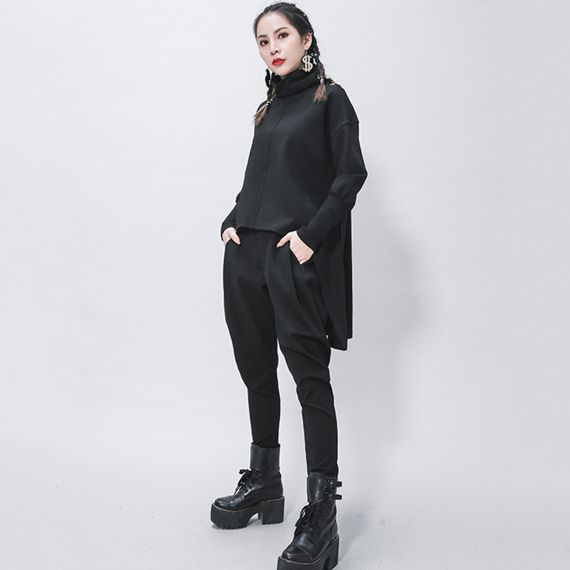 [EAM] Women Black Ribbon Split Big Size T-shirt New Round Neck Three-quarter Sleeve  Fashion Tide  Spring Summer 2020 1Z355 4