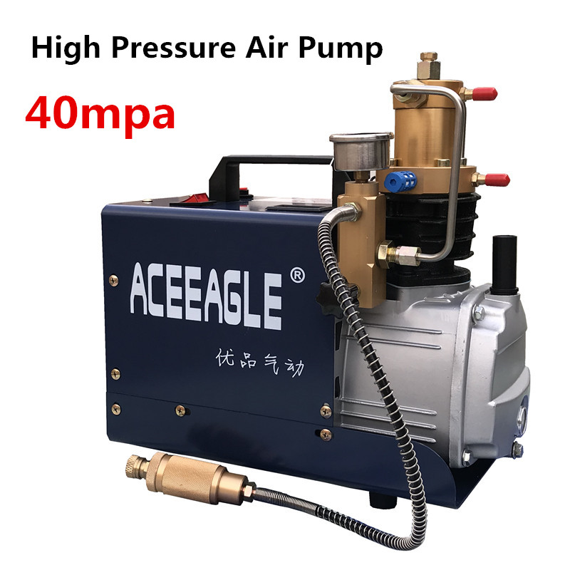220V 1.8KW 40 Mpa Electric Air Compressor High Pressure Air Pump Pneumatic Airgun PCP Inflator With High Pressure Safety Valve
