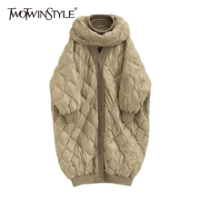 Down-Jacket TWOTWINSTYLE Korean-Coats Patchwork Winter Fashion New Casual Mid-Length