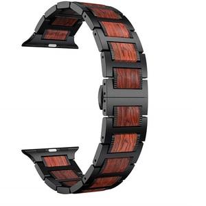 Image 1 - Bracelet en bois pour Apple watch, en bois de santal rouge + acier inoxydable, bracelet de Apple watch série 5 4 3 38, 42, 44mm