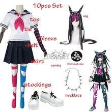 Danganronpa Dangan Ronpa Mioda Ibuki pelucas de Cosplay traje japonés uniforme escolar de animé marinero vestido de las mujeres traje de Halloween