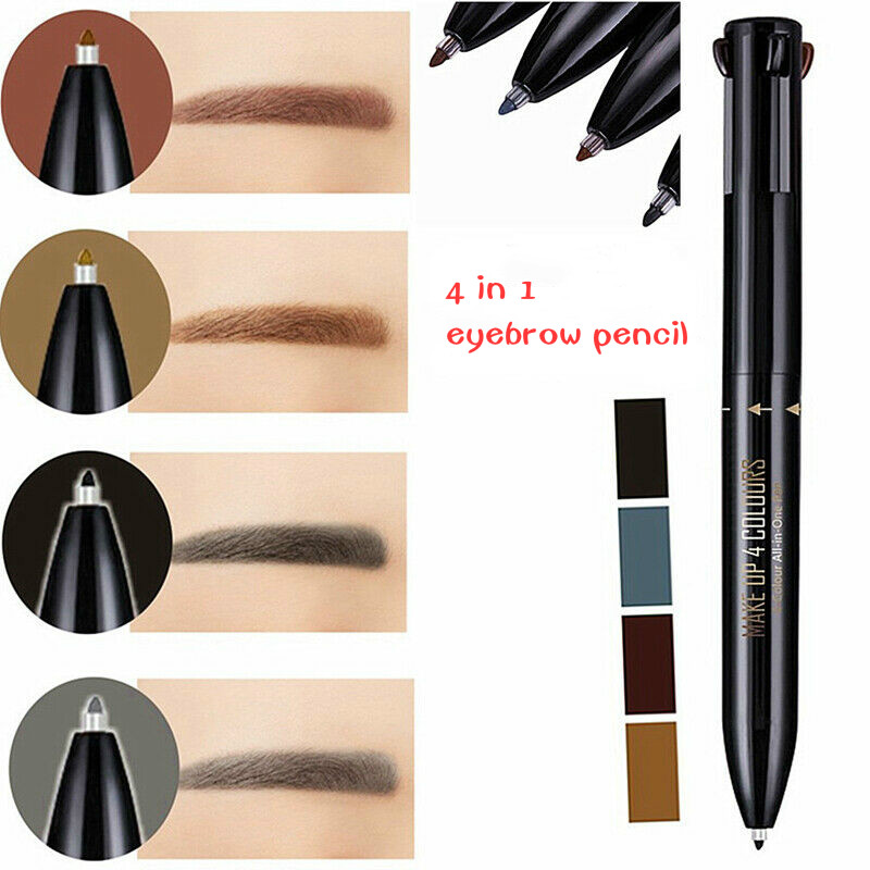 4 In 1 Autorotation Eyebrow Pencil Liner Waterproof Long Lasting Makeup Cosmetic Tool Black Grey Dark Light Brown Eye Brow Pen