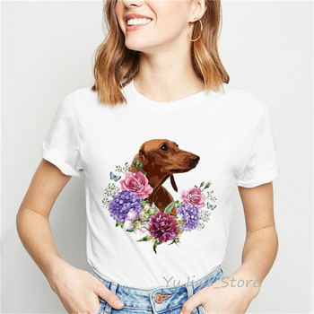 Dachshund Blooming Flowers Art T Shirt women Cute Dog animal print tee shirt femme summer top female white t-shirt streetwear