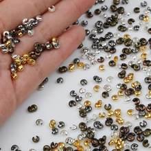 100 pces ouro/gunmetal/bronze/cobre/prata chapeado liga grânulos de friso liso cobre jóias diy componente atacado 3mm