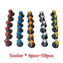 30PCS/lot WH148 potentiometer knob cap(copper core) 15X17mm 6mm Shaft Hole AG2 Yellow Orange Blue White Red 5value*6PCS=30PCS
