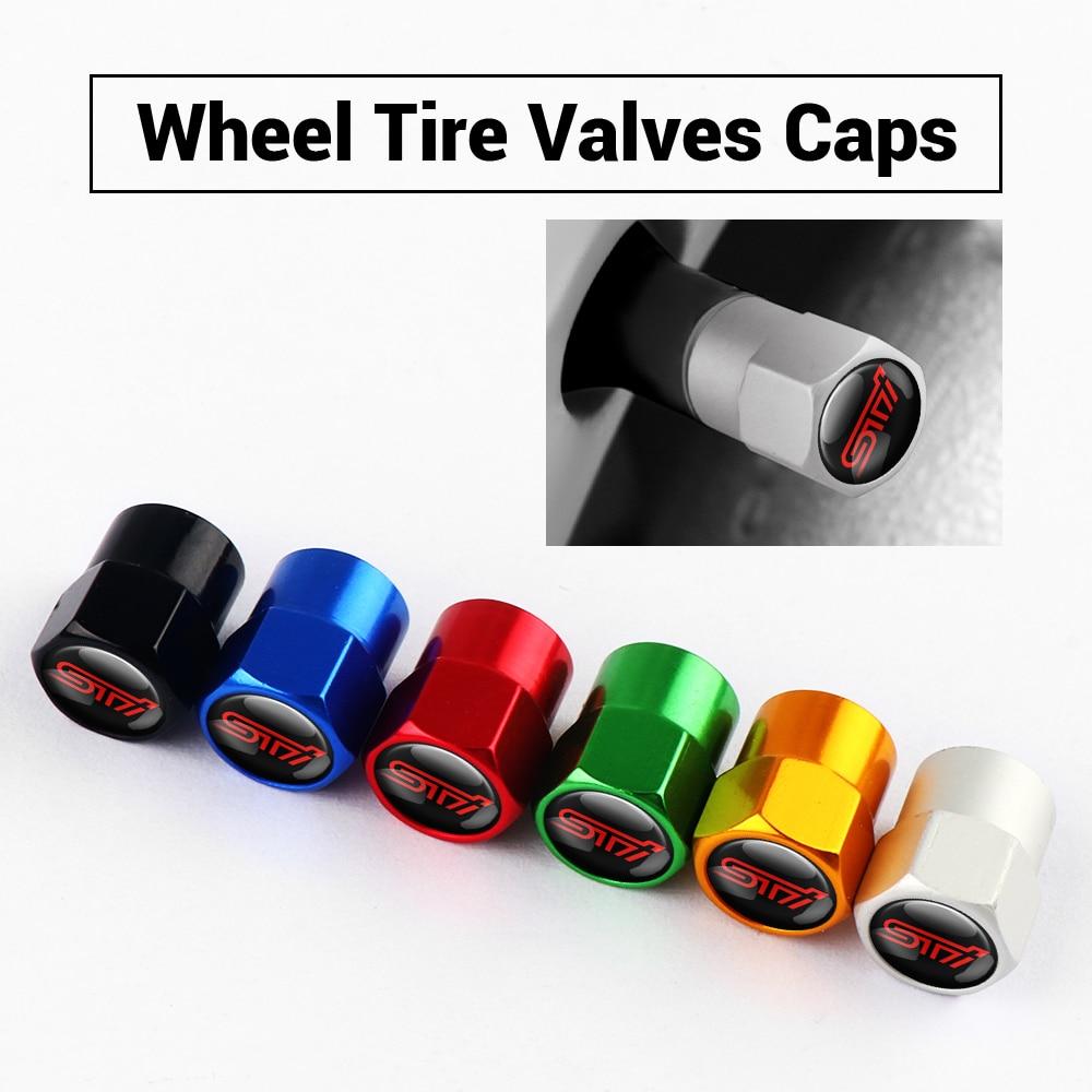 For Subaru STI Legacy Forester Outback WRX WRC Impreza Car Accessories Aluminum Alloy Wheel Tires Valves Tyre Air Caps