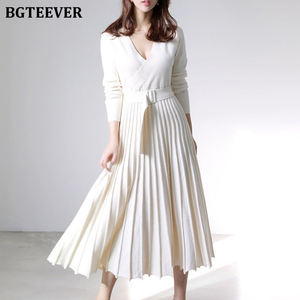BGTEEVER Elegant V-neck Thick Warm Women Knitted Pleated Dress Long Sleeve Belted Sashes Ladies Sweater Dress 2020 Autumn Winter