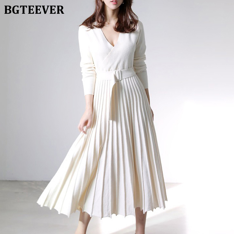 BGTEEVER элегантное толстое теплое женское трикотажное плиссированное платье с длинным рукавом и поясом, женское платье свитер 2020 осень зима|Платья| | АлиЭкспресс