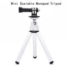 Para go pro acessórios mini tripé monopod escalável para gopro hero 5 4 3 + para sj4000 para xiaomi acessórios da câmera do esporte
