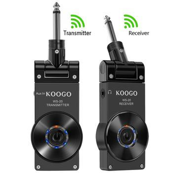 Koogo Wireless Guitar System Transmitter & Receiver for Electric Guitar Bass Violin with Rechargable Battery aroma aru 03s uhf wireless digital audio transmission transmitter receiver system for guitar bass