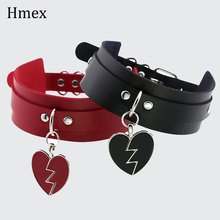 Trendy Sexy PU Leather Choker Necklace For Women Punk Gothic lock Heart pendant Collar  Jewelry faux leather lock pendant choker necklace