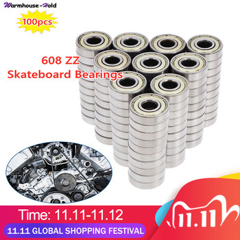 100 PCS 608 ZZ Skateboard Bearings Double Shielded 8x22x7mm Miniature Ball Bearings Row Roller Scooter Skateboard Bearings Kits 10pcs lot abec 7 608zz shafts stainless steel bearings roller scooter ball bearings skate skateboard wheels silver bearings