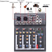 Mini mezclador de Audio portátil con consola mezcladora de sonido USB DJ MP3 Jack 4 canales Karaoke 48V amplificador PARA Karaoke KTV partido