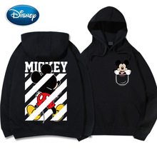 Disney Chic Fashion Mickey Mouse Donald Duck Cartoon Print Hoodie Pullover Couples Unisex Women Sweatshirt Pocket Tops 6 Colors
