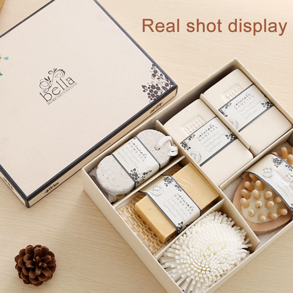 New Spa Essentials Bath Set With Pumice Stone Sponge Wooden Massager Brush Soap Gift Set High-quality Beauty Gift For People