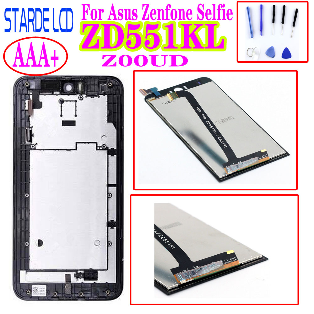 STARDE 5.5''LCD For Asus Zenfone Selfie ZD551KL LCD Display Touch Screen Digitizer Assembly With Frame ZOOUD LCD With Free Tools