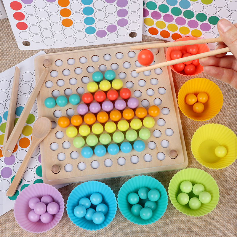 JaheerToy Baby Hand Movement Training Color Cognition Bead Clipping Wooden Toys For Children Ball Montessori Early Education