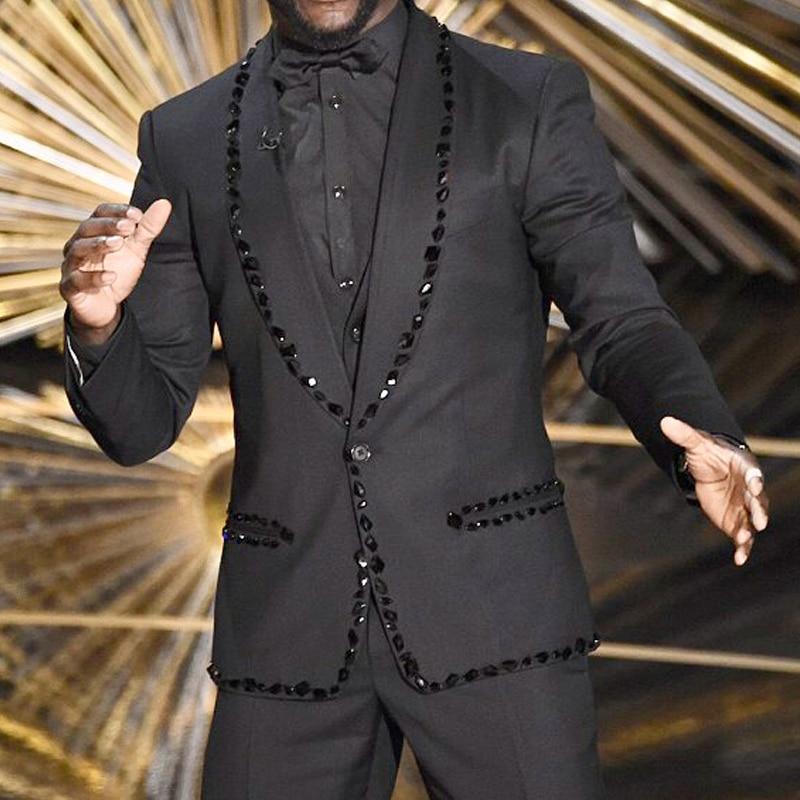 wedding : Luxury Black Prom Men Suits for Wedding with Rhinestone Slim Fit 2 Piece Blazer Pants 2020 Beaded Male Clothes Groom Tuxedo