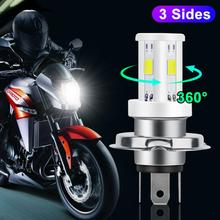 Ceramic H4 Led Motorcycle Headlight Bulbs 3 Sides COB Chips 1200LM 6000K Moto Light Scooter Motobike Head Lamp ATV Accessories