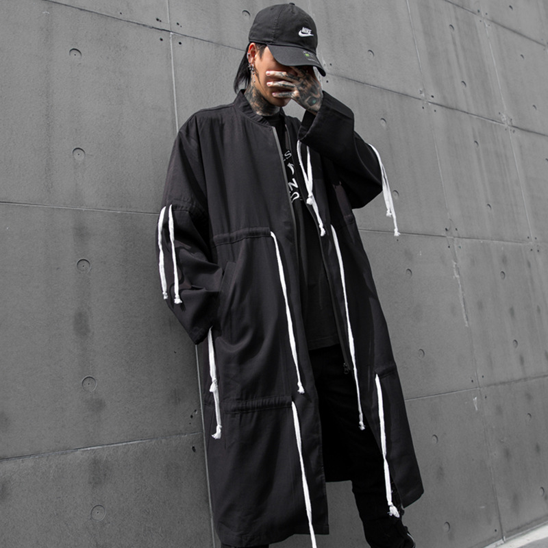Männer Street Hip Hop Kordelzug Design Oversize Lose Lange Windjacke Jacke Männlichen Strickjacke Graben Mantel Oberbekleidung Mantel-in Trench aus Herrenbekleidung bei  Gruppe 1