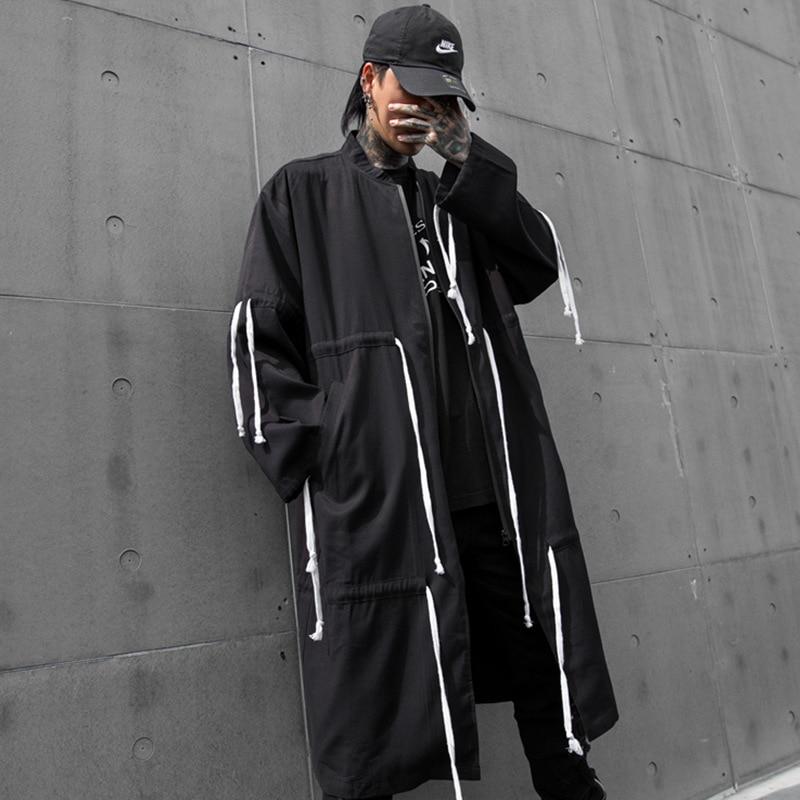 Men Streetwear Hip Hop Drawstring Design Oversize Loose Long Windbreaker Jacket Male Cardigan   Trench   Coat Outerwear Overcoat