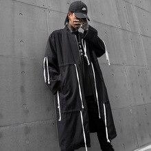 Ropa de calle Hip Hop con cordón de diseño de gran tamaño suelto largo cazadora Chaqueta Hombre cárdigan gabardina abrigo