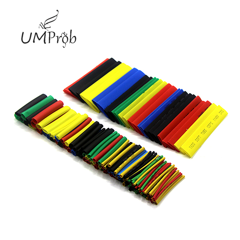 164 pces cor polyolefin psiquiatra calor shrinkable tubo fio cabo isolação manga grupo