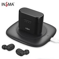 INSMA Mini TWS In ear bluetooth 5.0 Earphone Sports Hi Fi Stereo True Wireless Earbuds Binaural Support QI Charging Ear Buds