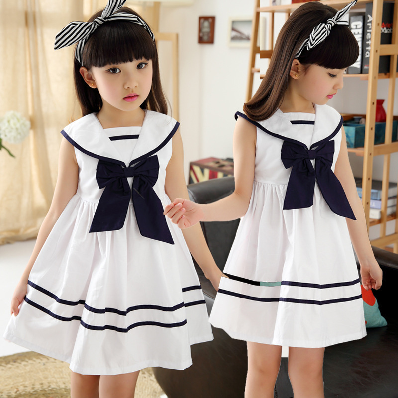 New 2019 Kids Girls Summer Cotton White Bow Princess Dress Children A-Line Casual Dress Clothes For 3 4 <font><b>5</b></font> 6 7 8 9 10 Years Old image
