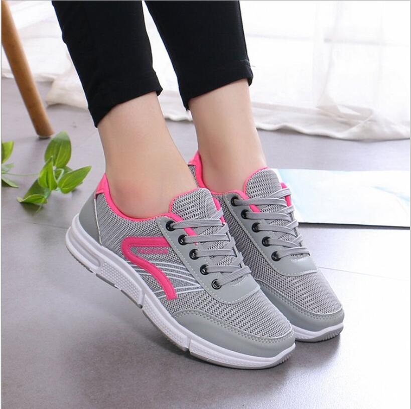 Female flying woven mesh sneakers Four-level penetrating gas wild casual shoes Lightweight soft bottom fitness Women's Flat Shoe