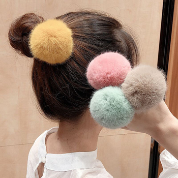 New Lovely Imitation Rabbit Fur Plush Elastic Hair Rope Ponytail Holder Girls Pompom Hairband Hair Rings Hair Ties Accessories image