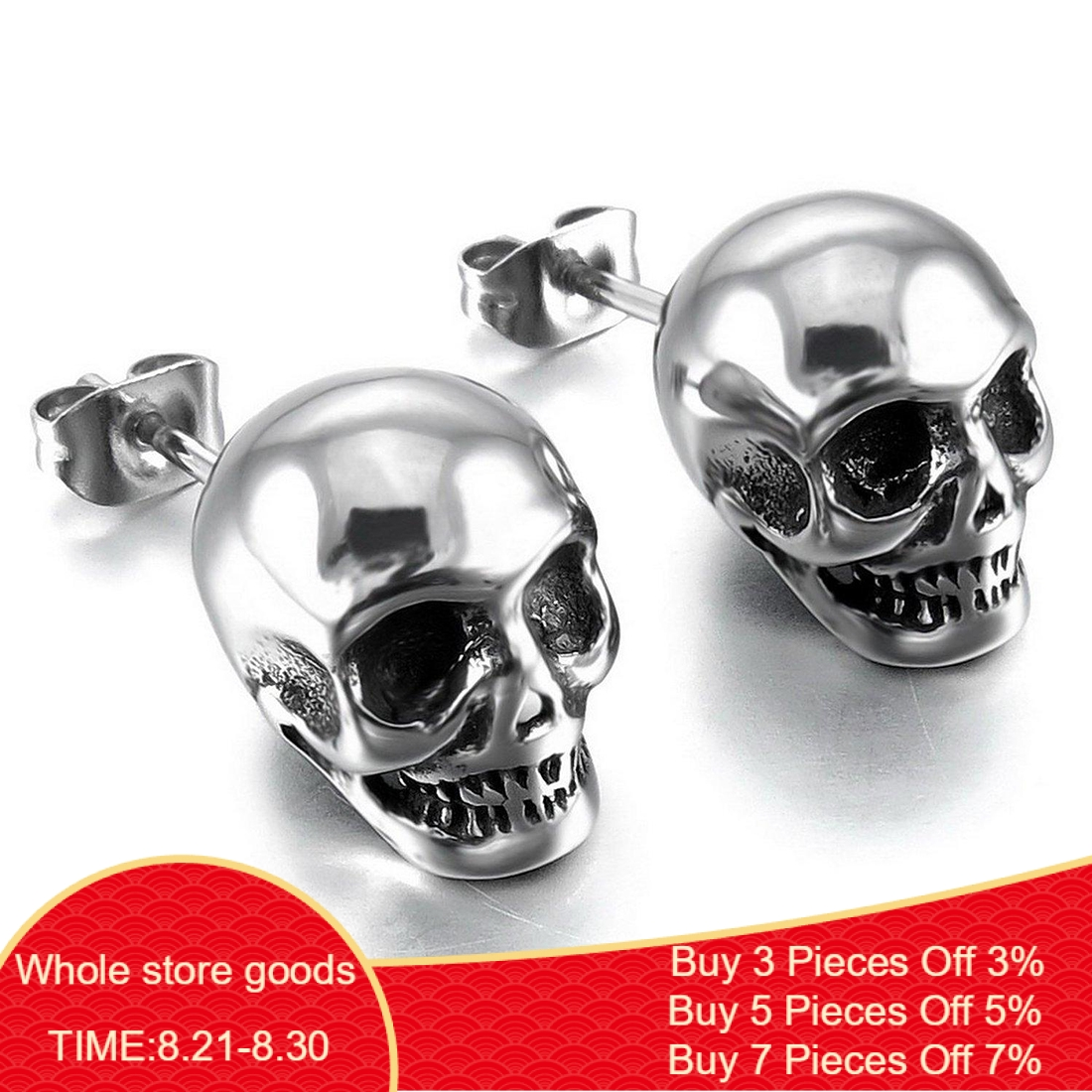 Skull Jewelry Earrings Studs Skeleton Punk Fashion Women Unsex-Ear Couple