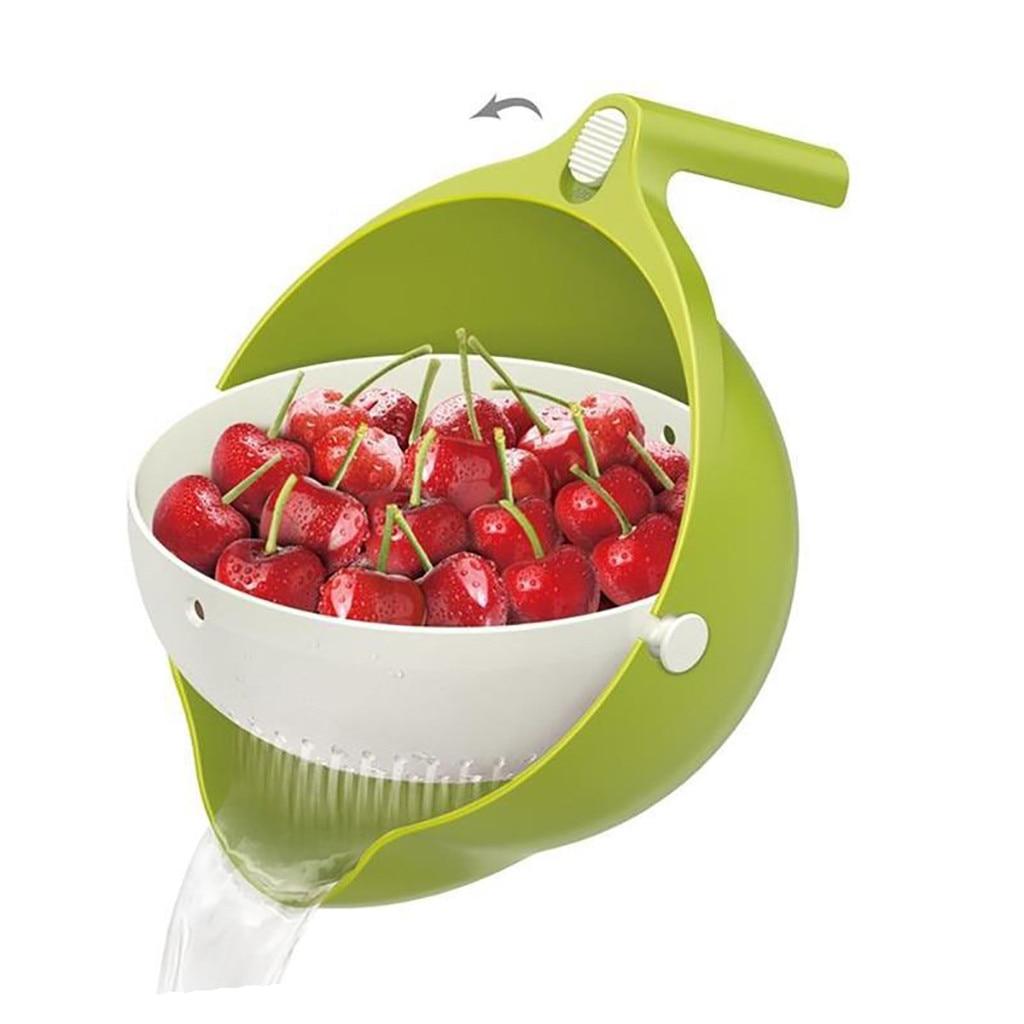 Double Drain Basket Bowl Rice Washing Kitchen Sink Strainer Noodle Vegetable Fruit Kitchen Gadget Colander Coladores De Cocina#A