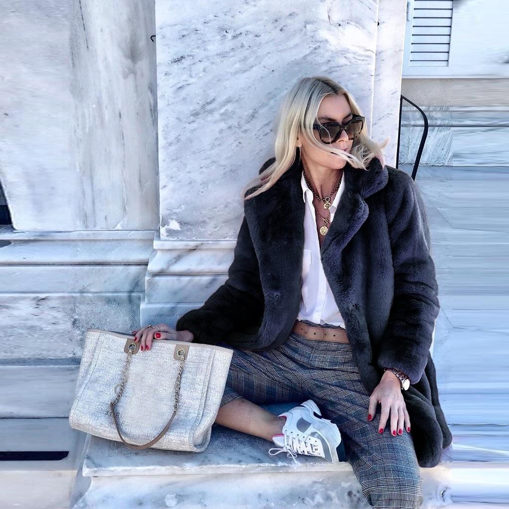 H2728505e17fe4136b177e27f5d15f8b3T New Winter Womens Faux Fur Long Outwear Coat Warm Fleece Thick Jacket Ladies Long Plus Size Cardigan Overcoat