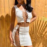 CHRONSTYLE-Conjunto de 2 piezas formado por una cadena, camisetas sin mangas cortas, borlas, Falda de tubo con corte en la cintura, 2020