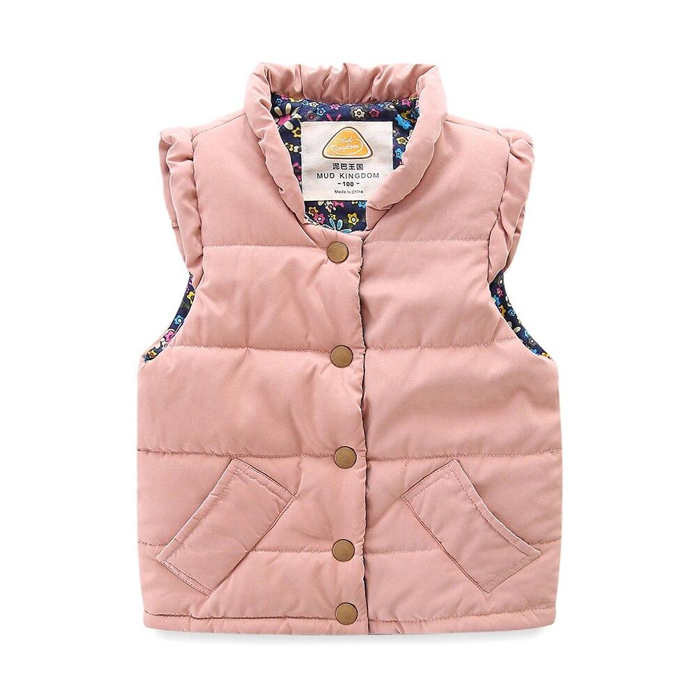 Mudkingdom Girls Vest Stand Collar Solid Sleeveless Jacket Girls Vests Winter Baby Waistcoat Kids Gilet Fille Coats 2