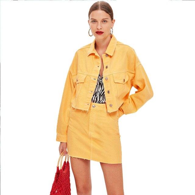 여름 여성 2 세트 핫 세일 여성 패션 단색 싱글 브레스트 데님 자켓 + 포켓 짧은 스커트 2 피스 슈트