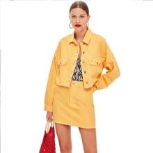 Летний женский комплект из 2 предметов, Лидер продаж, женская модная однотонная однобортная джинсовая куртка + короткая юбка с карманами, костюм из двух предметов