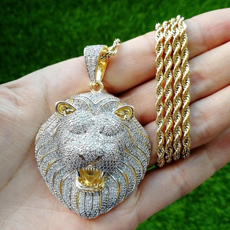 Hip Hop plein AAA CZ Zircon pierre pavé de glace sur or Lion pendentifs collier pour hommes Bling rappeur bijoux livraison directe