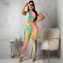 Goocheer Women Crop Tops Blouse +Pants Workout 2 PCS Sets Tracksuits 2019 Fashion Floral Print New Colorful Fitness Womens