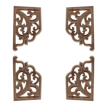 Calcomanía para tallado de madera de estilo europeo para decoración del hogar, calcomanía para madera blanca de múltiples tamaños, artesanía de madera de esquina pequeña