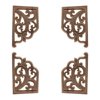 European Style Wood Carving Home Decoration Solid Wood Decal White Embryo Wholesale Multi-size Small Corner Flower Wood Craft
