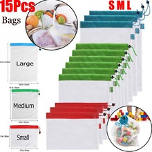 15pcs/lot Eco Friendly Washable Mesh Produce Bags for Grocery Shopping Storage Reusable Fruit Vegetable Kitchen