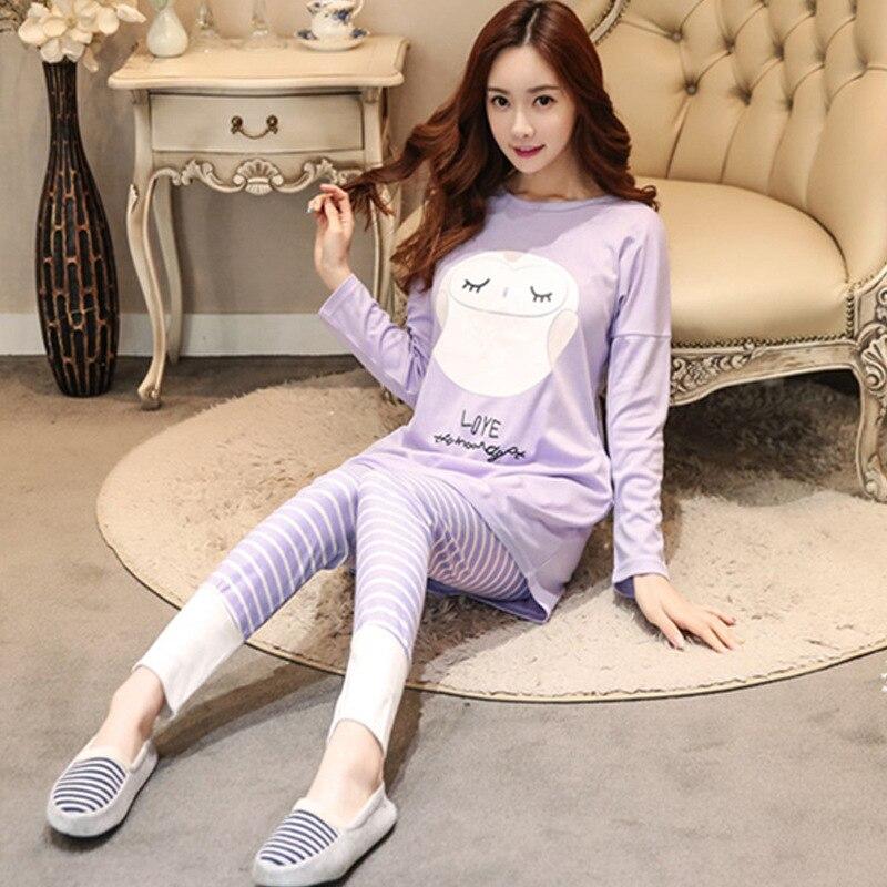 Autumn & Winter WOMEN'S Long Sleeve Pajamas Sweet Cute Korean-style Large Size Women's Casual Cartoon Homewear Set Wholesale