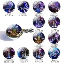 12 Constellation Sphere Ball Pendant Necklace Zodiac Signs Women Fashion Bronze Chain Lovers Gift
