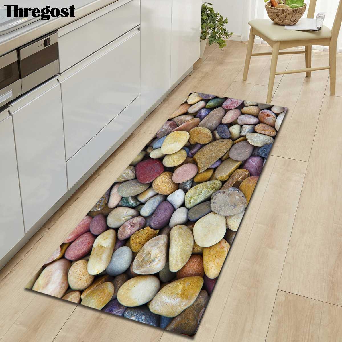 Printed Floor Mat Door Mat Polyester Multi-Cobblestone Pattern 3D Effect Design