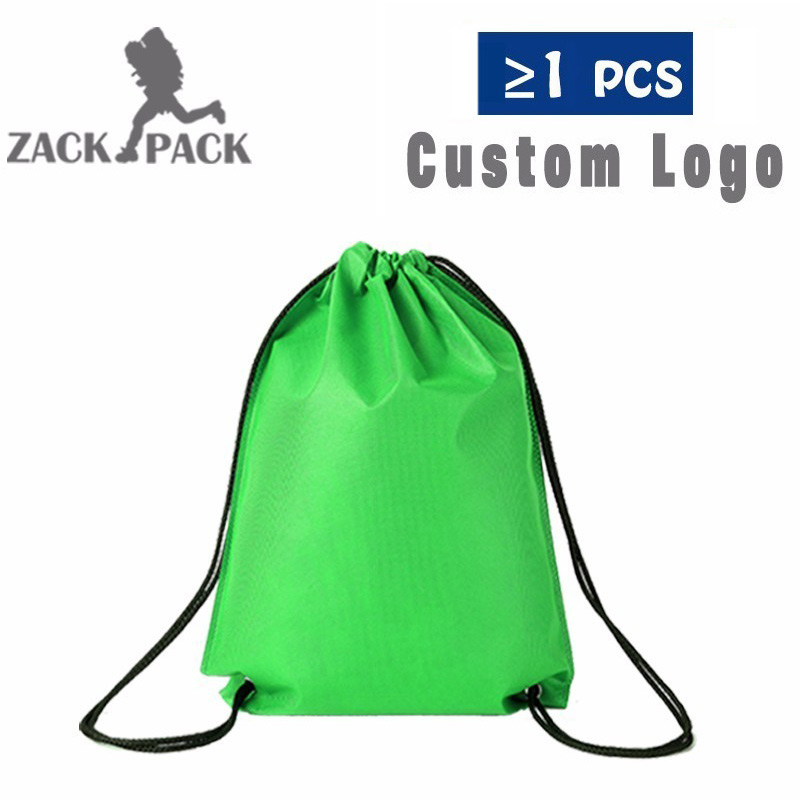 10pcs Drawstring Bags Custom Logo Travel Storage Backpack Promotional Sports Printed Bag For Female/Men Polyester Backpack