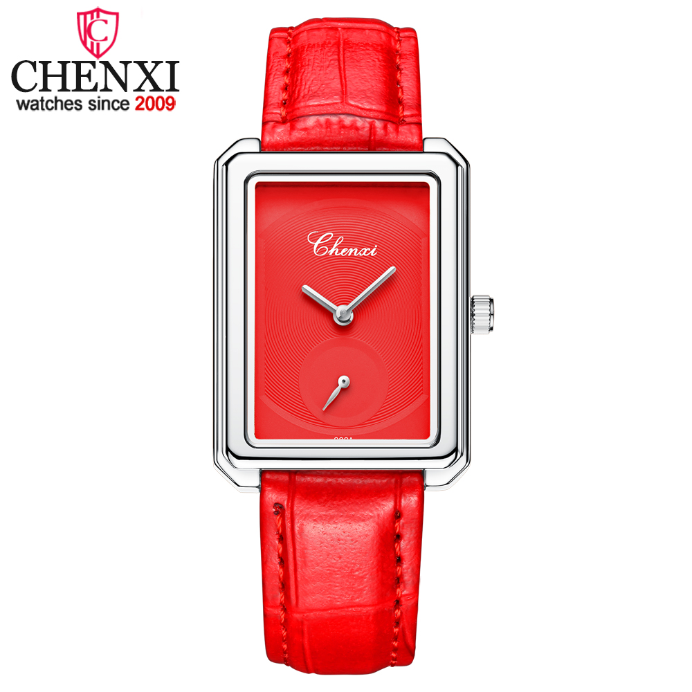 CHENXI Unique Small Dial Women Wrist Watches Lady Quartz Watch Women Red Leather Waterproof Clock Gift Female Student Watch