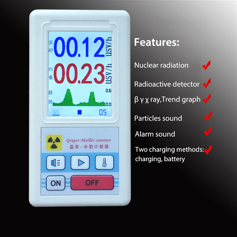 Nuclear Radiation Detector Color Screen Display Geiger Counter Portable Dosimeter Beta Gamma X-ray Gas Tester